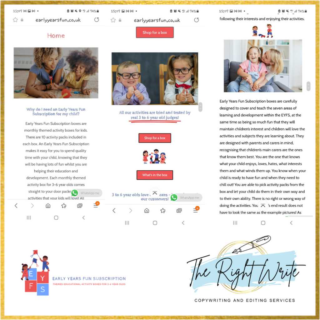 early years fun subscription website redesign and rewrite by the right write
